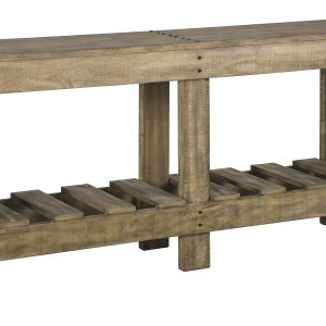 Sofa console table is made of wood in a light brown finish. Designed with a fixed lower shelf for storage