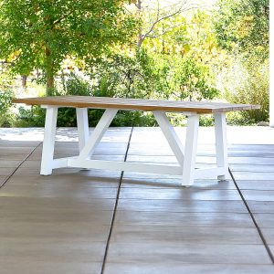 Madera Beam Table In White With Teak 84″-Cabo-Home-Furniture-Seasalt-Home-Interiors