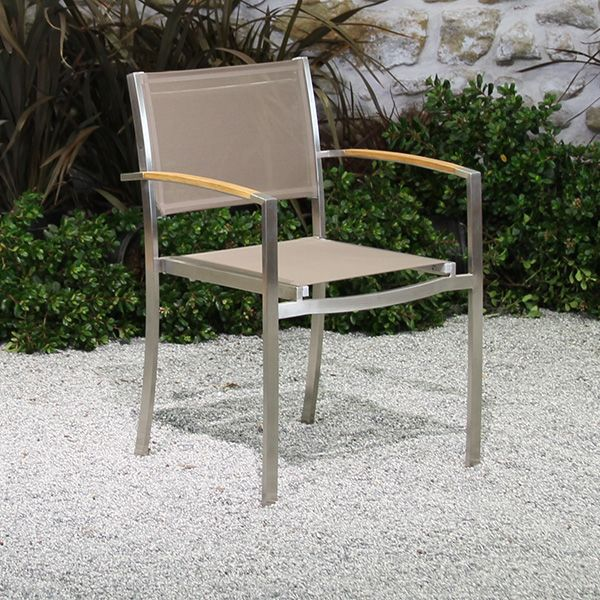 Milano Stainless and Batyline Arm Chair-Cabo-Home-Furniture-Seasalt-Home-Interiors