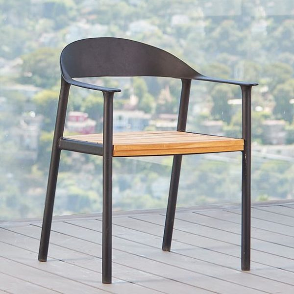Sonoma Dining Chair In Metal And Teak-Cabo-Home-Furniture-Seasalt-Home-Interiors