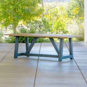 Madera Beam Table In Charcoal Metal With Teak 84″-Cabo-Home-Furniture-Seasalt-Home-Interiors