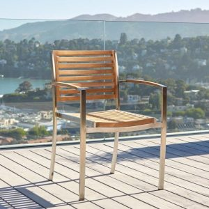 Milano Stainless with Teak Armchair-Cabo-Home-Furniture-Seasalt-Home-Interiors